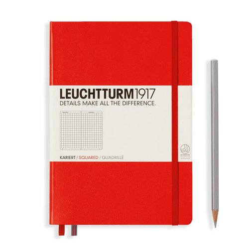 Leuchtturm 1917 - Notizbuch Medium A5 Hardcover: Red / Rot, kariert