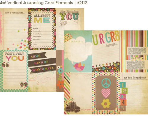 "Simple Stories - Fabulous: 4x6"" Vertical Journaling Card Elements 12""x12"""