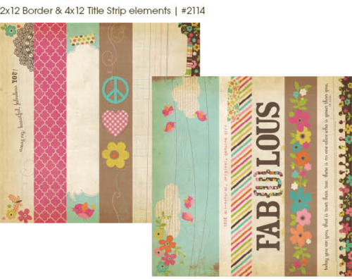 "Simple Stories - Fabulous: 2x12"" Border & 4x12"" Title Strip Elements 12""x12"""