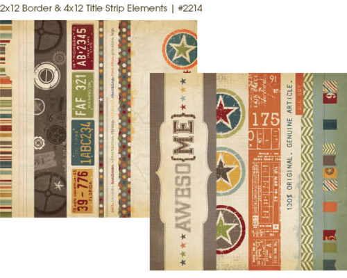 "Simple Stories - Awesome: 2x12"" Border & 4x12"" Title Strip Elements 12""x12"""