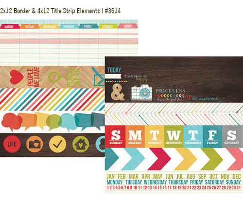 "Simple Stories - Daily Grind: 2x12 Border & 4x12 Title Strip Elements 12""x12"""