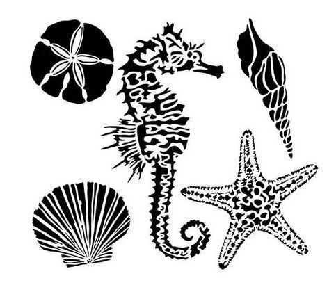 "The Crafters Workshop - Stencil: Mini Sea Creatures 6""x6"""