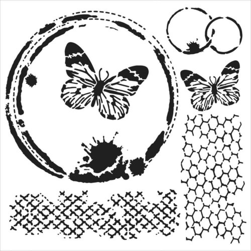 "The Crafters Workshop - Stencil: Mini Butterfly Collage 6""x6"""