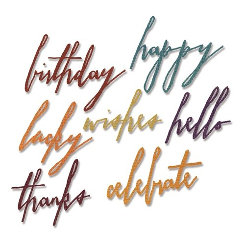 Tim Holtz Alterations - Thinlits: Handwritten Celebrate (7 Dies)