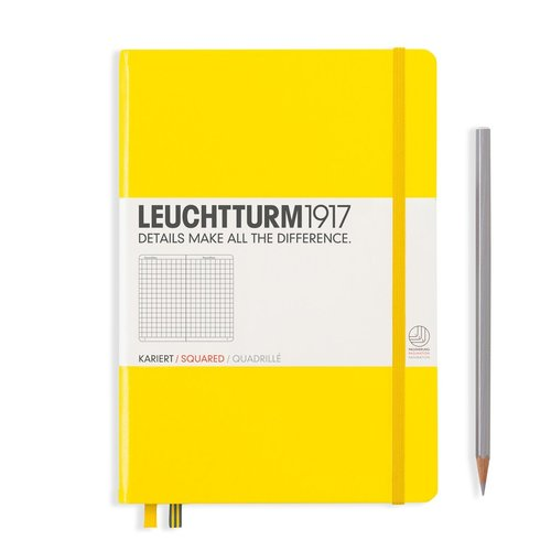 Leuchtturm 1917 - Notizbuch Medium A5 Hardcover: Lemon / Zitrone, kariert