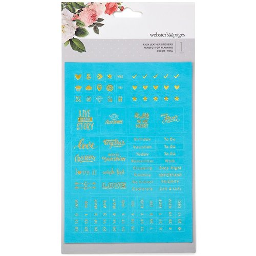 Websters Pages - Color Crush Planner Faux Leather Stickers: Teal Words