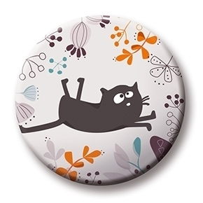 Cats on Appletrees - Magnet: Katze Friedegunde floral