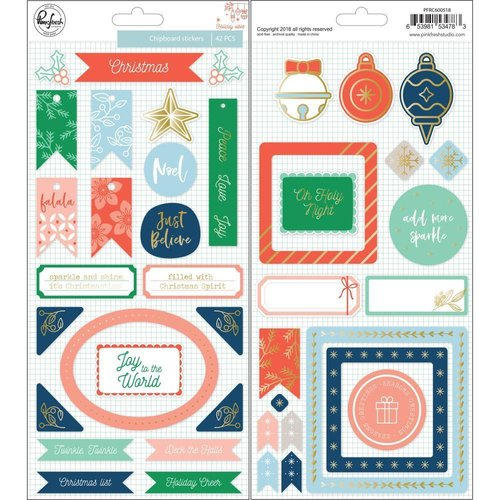 Pinkfresh Studio - Holiday Vibes: Chipboard Stickers (42 St.)