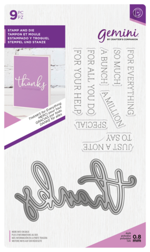 Gemini - Stamp and Die: Thanks (Stanz-und-Stempel-Set)